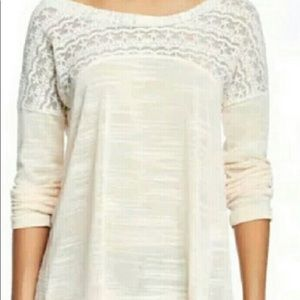 Anthropologie HAZEL Lace with Tie-back Sweater